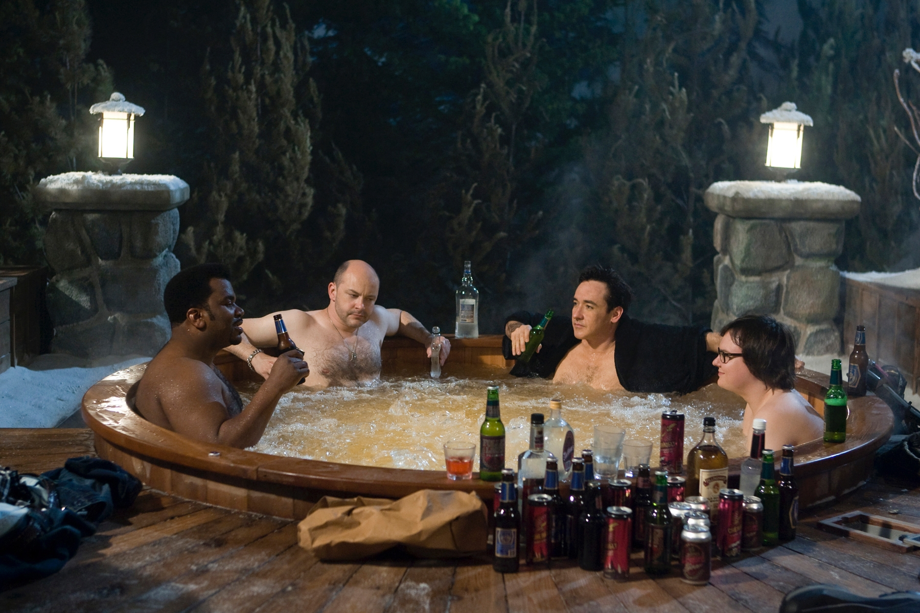 With a deliriously stupid title, and a heroically idiotic cast, Hot Tub Time ...