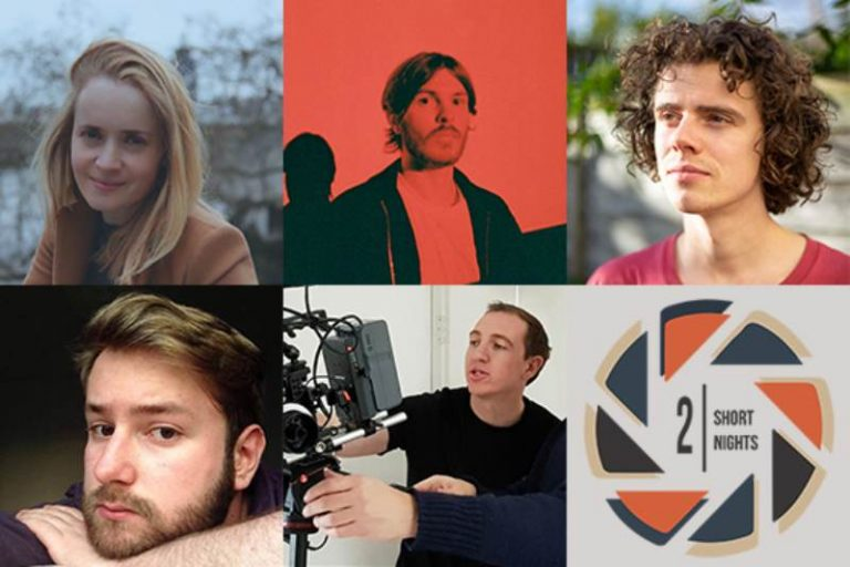 head shots of the filmmakers three on the top, two on the bottom with the last space filled with a two short nights logo